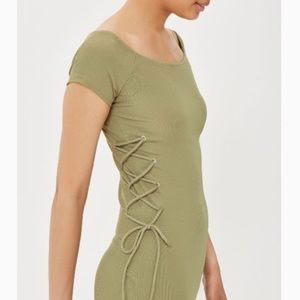 Topshop Green Lace Up Side Bodycon Mini Dress